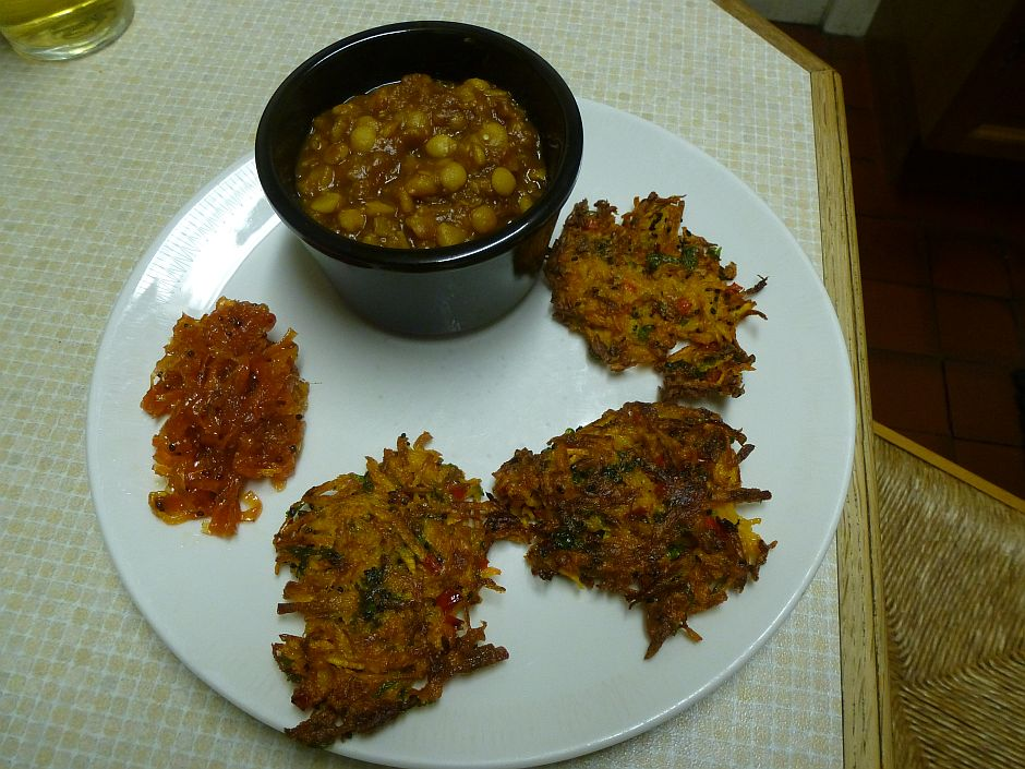 Dal, Carrot Chutney and Butternut Squash Patties